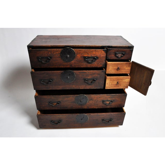 Early 20th Century Japanese Tansu With Black Color Hardware For Sale - Image 5 of 13