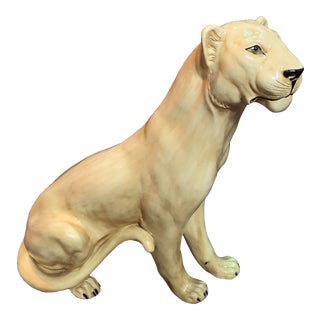 Italian Hand Made Life Size Glazed Terra Cotta Tiger Statue For Sale