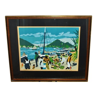 1960s Vintage Glenn Wilcox Waterfront St. Thomas, Vi Framed Serigraph Print For Sale