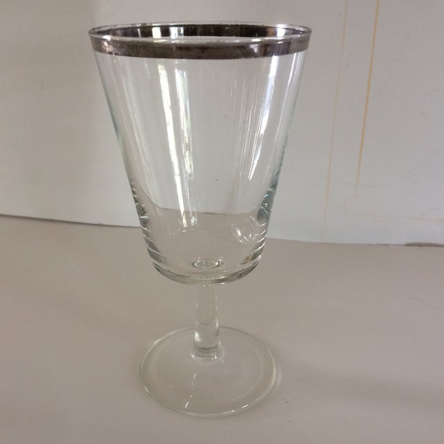 French Platinum Rim Crystal Cocktail /Water Glasses - Set of 12 For Sale - Image 4 of 11