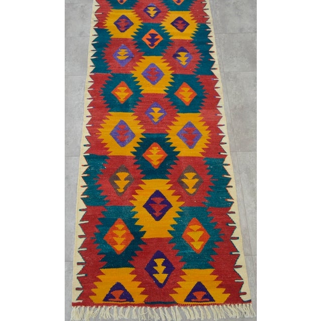 "Turkish Hand Woven Wool Nomad Runner Rug - 2'6"" X 9'1"" - Image 7 of 8"