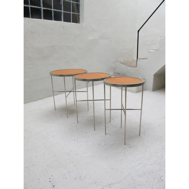 Saddle Leather Topped End Table For Sale - Image 4 of 7