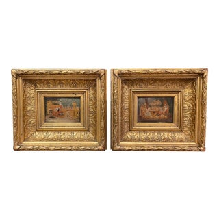 Pair of 19th Century French Oil on Board Paintings in Carved Gilt Frames For Sale
