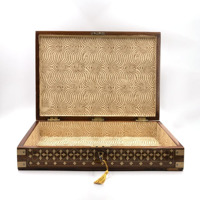 Mid 19th Century Anglo Indian Teak Box With Brass Inlay, India, Circa 1860 For Sale - Image 5 of 11