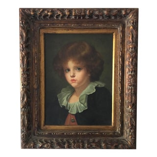 Vintage Oil on Canvas Painting of a Young Boy For Sale