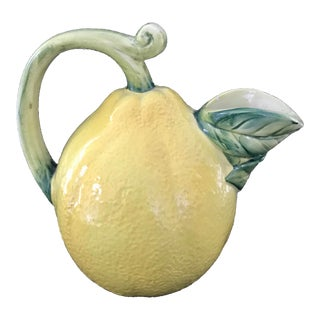 1970s Italian Hand Painted Lemon Trompe L'oeil Pitcher For Sale