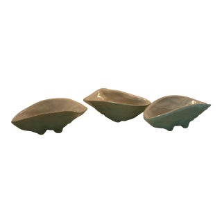 Vintage Studio Art Pottery Oyster Shape Seafoam Green Footed Bowls - Set of 3 For Sale