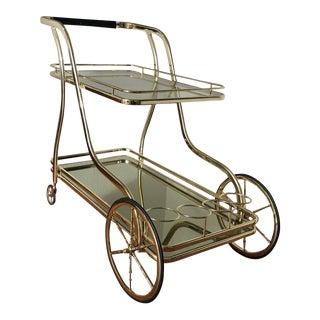 Vintage Italian Polished Brass Trolley Bar Cart