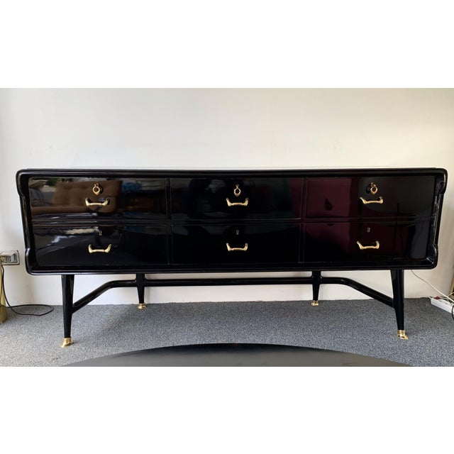 Black Lacquered Sideboard and Brass by Vittorio Dassi, Italy, 1950s For Sale - Image 13 of 13