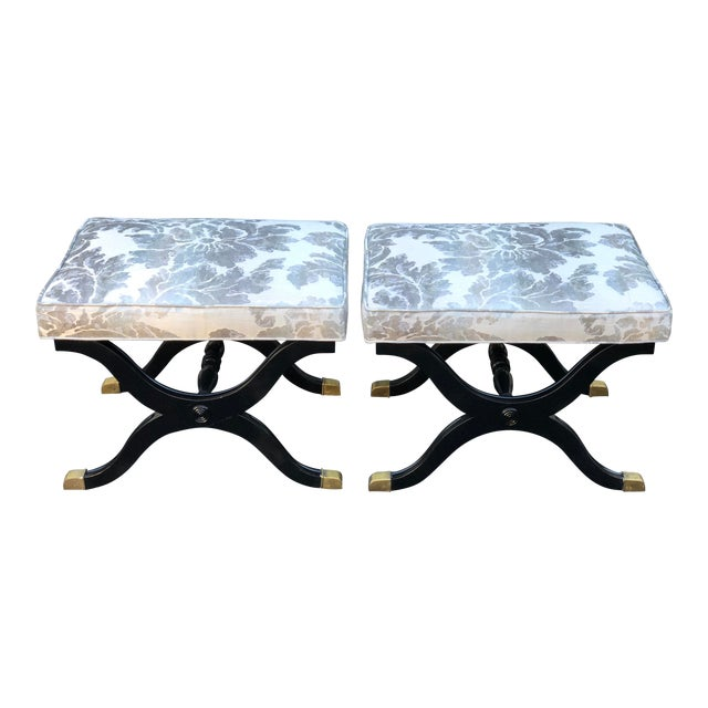 Pair of Charles X Style X Bench Footstools or Ottomans For Sale