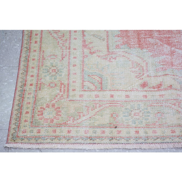 """1930s Vintage Turkish Oushak Hand Knotted Organic Wool Fine Weave Rug,5'5""""x9'3"""" For Sale - Image 5 of 6"""
