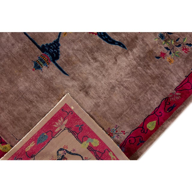 Vintage Purple Chinese Art Deco Wool Rug 9 Ft X 11 Ft 6 In. For Sale - Image 4 of 13