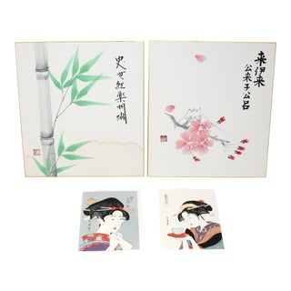 Vintage Japanese Watercolor Paintings and Woodblock Prints For Sale