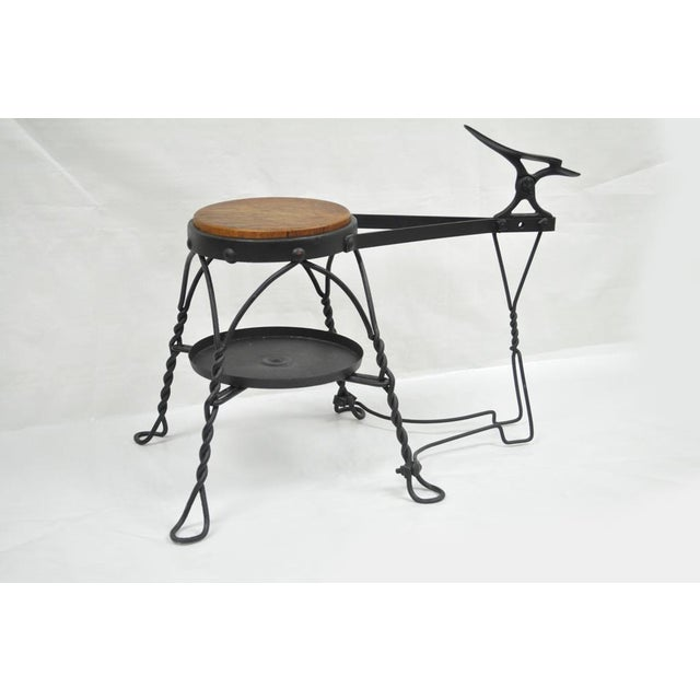 Industrial Antique Twisted Wrought Iron Shoe Shine Bench Oak Seat With Foot Rest Stool For Sale - Image 3 of 11