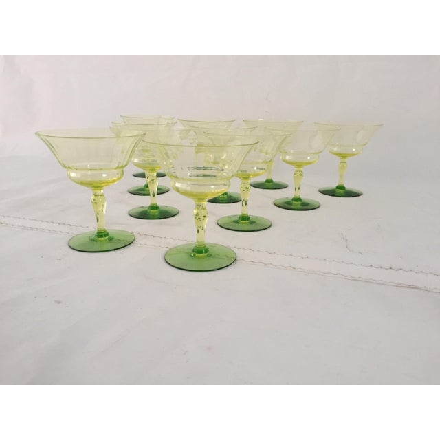 Depression Era Vaseline Glass Set (11) Champagne/Martini 4.5 x 4.0 Lime Color Effervescent Excellent