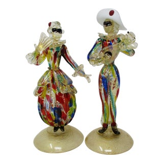 Murano Glass Carnival/Masquerade Figurines - a Pair For Sale