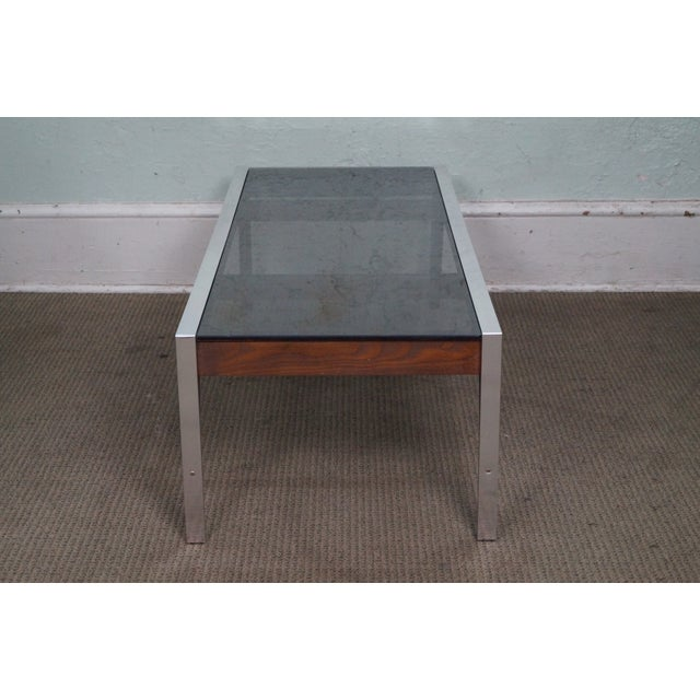 Mid-Century Modern Mid Century Modern Chrome & Walnut Smoked Glass Coffee Table For Sale - Image 3 of 10