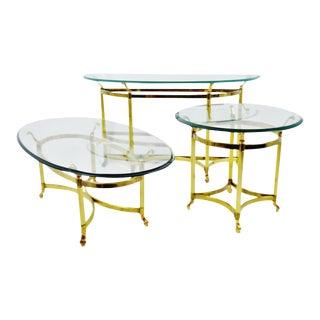 Vintage Maison Jansen Style Brass & Glass Living Room Tables - Set of 3 For Sale