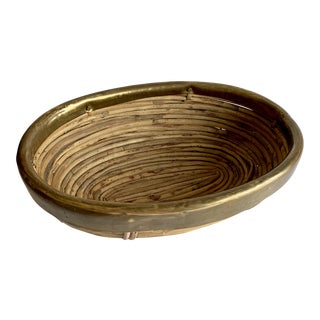 Vintage Brass & Rattan Bowl For Sale