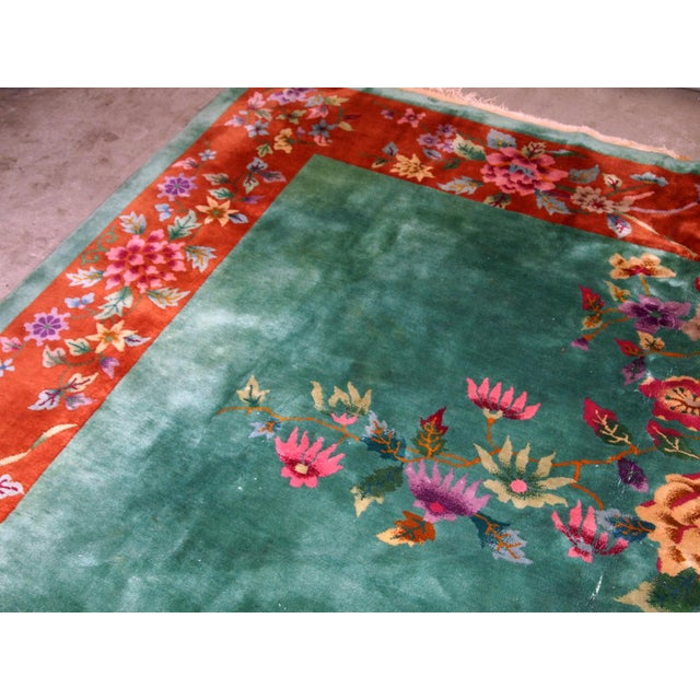 Green 1920s, Handmade Antique Art Deco Chinese Rug 8.10' X 11.6' For Sale - Image 8 of 11
