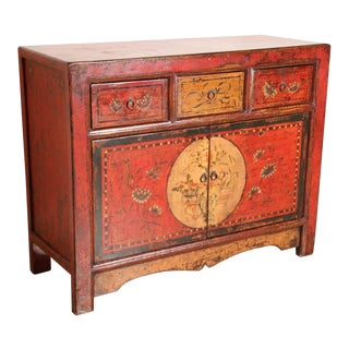 Tibetan Dowry Hand Painted Cabinet For Sale