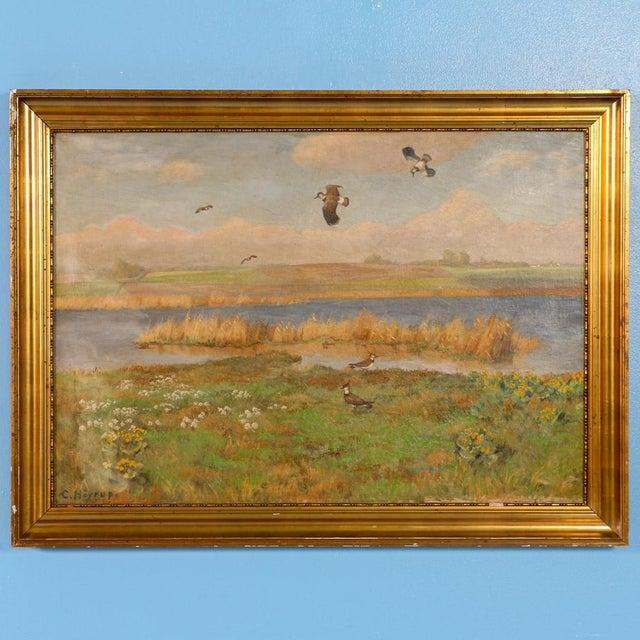 "Original Antique ""Shore Birds in a Marsh"" Landscape Painting Signed C. Hoyrup For Sale - Image 10 of 10"