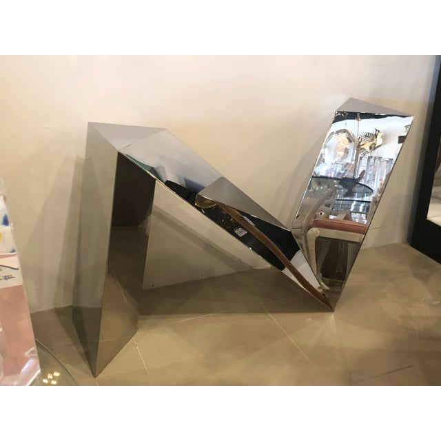 Vintage Modern Polished Stainless Steel Zig Zag Geometric Console Table For Sale - Image 12 of 12