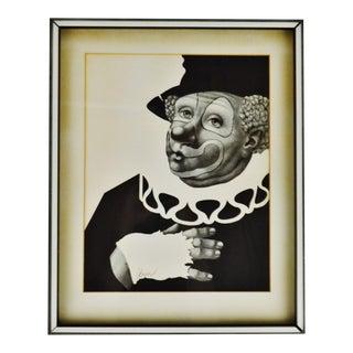 Vintage Framed a Besser Black & White Clown Lithograph - Pencil Signed For Sale