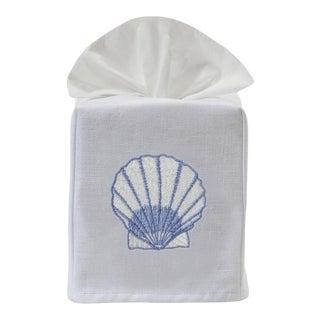 Blue Scallop Tissue Box Cover in White Linen & Cotton, Embroidered For Sale