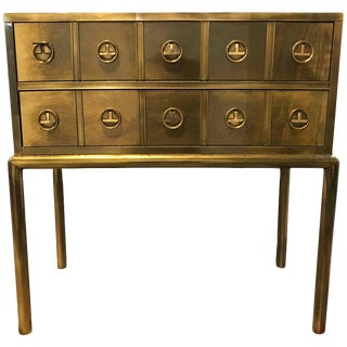 Mastercraft Brass Two-Drawer Small Chest of Drawers Cabinet For Sale
