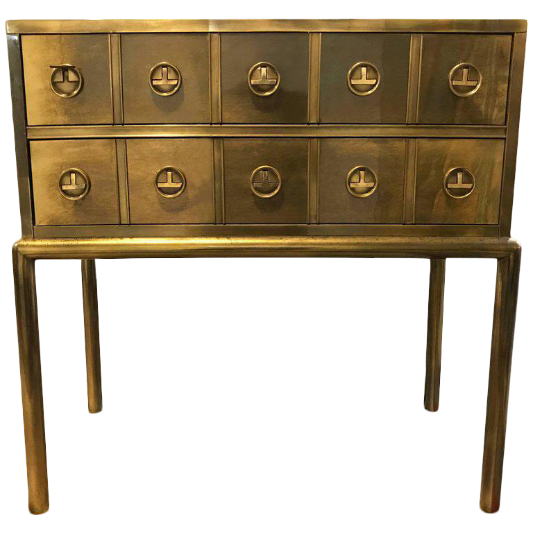 Mastercraft Brass Two Drawer Small Chest Of Drawers Cabinet