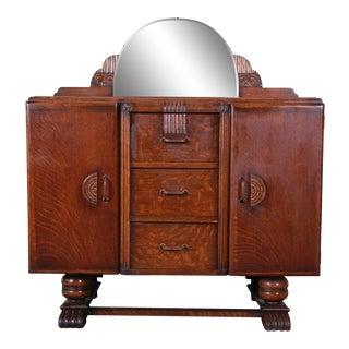 Antique Art Deco Tiger Oak Sideboard Buffet For Sale