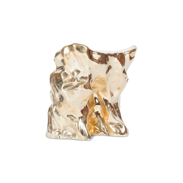 Hollywood Regency Hand Casted and Polished Bronze Stool For Sale - Image 3 of 9