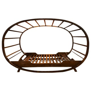 Bali Style Solid Teak Platform Bed With Ovoid Canopy For Sale