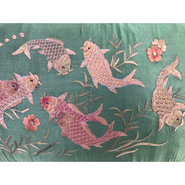 Jade green silk embroidered koi fish pillow chairish for Green koi fish