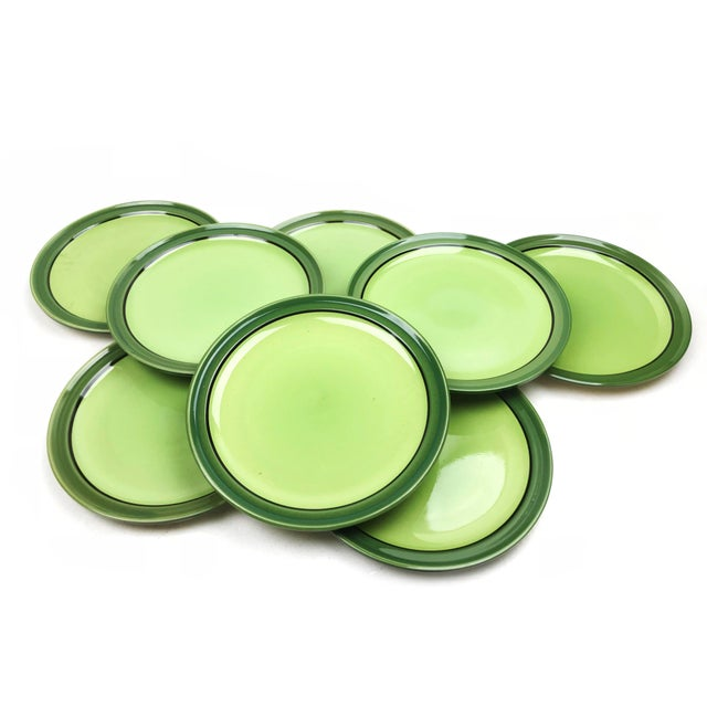 Mid-Century Green Stoneware Plates - Set of 8 For Sale - Image 4 of 4