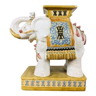 Contemporary Hand-Painted Ceramic Elephant Figurine For Sale