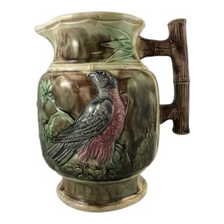 20th Century Traditional Green Majolica Pitcher