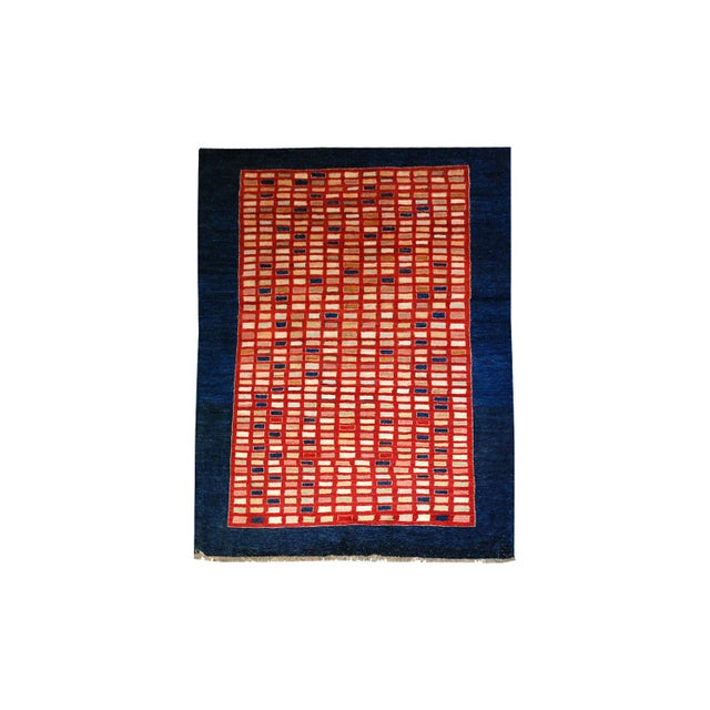 Textile Chobi Hand-Knotted Wool Geometric Navy Rug 6x9 For Sale - Image 7 of 7