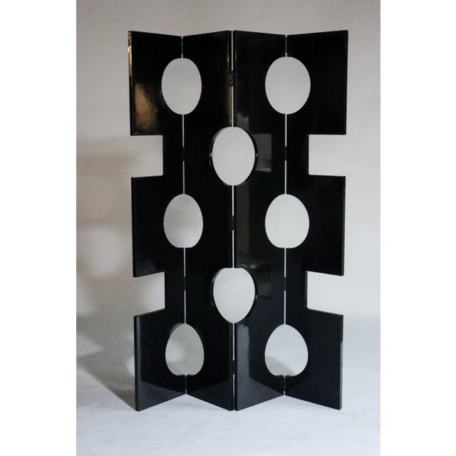 Mid-Century Modern Modernist Black Lacquered Wood Room Divider For Sale - Image 3 of 7