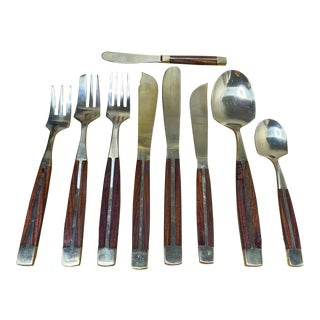 Vintage Mid-Century Bronze and Wood Flatware - 91 Piece Set, Service for 8 For Sale