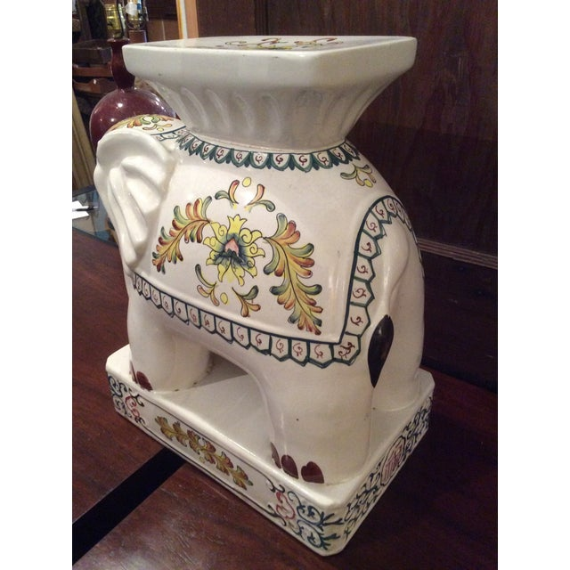 Vintage Ceramic elephant garden seat. Nicely painted. Nice platform type seat with very solid base