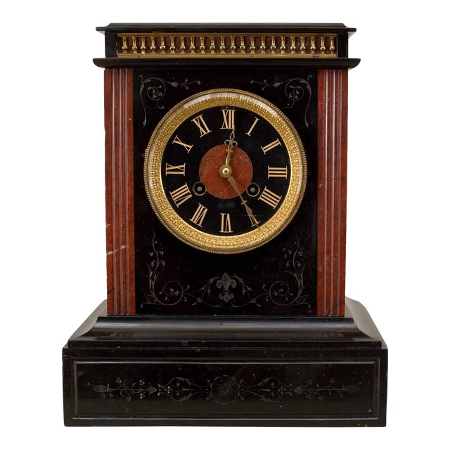 19th C. French Marble Mantel Clock For Sale
