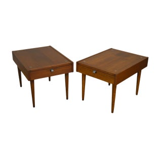 American of Martinsville Merton Gershun Mid Century Modern Pair Inlaid Walnut Side Tables For Sale