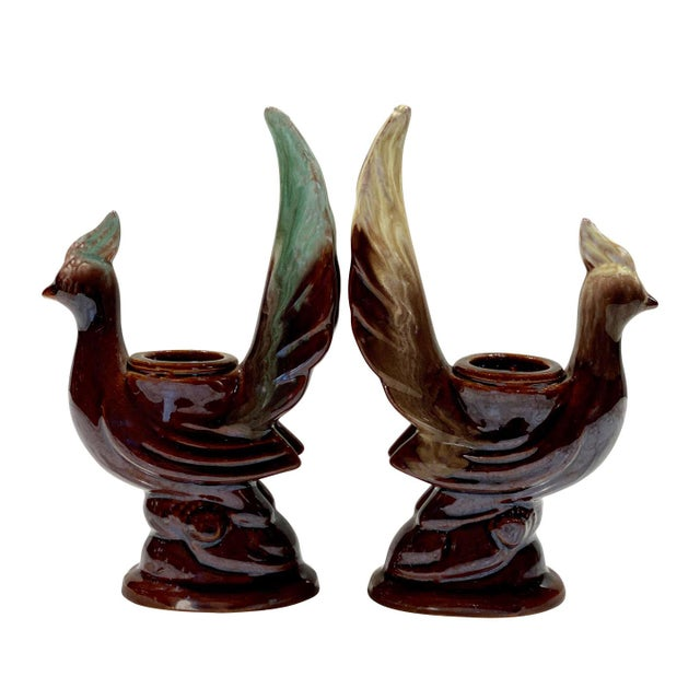 Vintage Art Deco Porcelain Majolica Peacock Bird Candlestick Holdeders - a Pair For Sale - Image 10 of 10