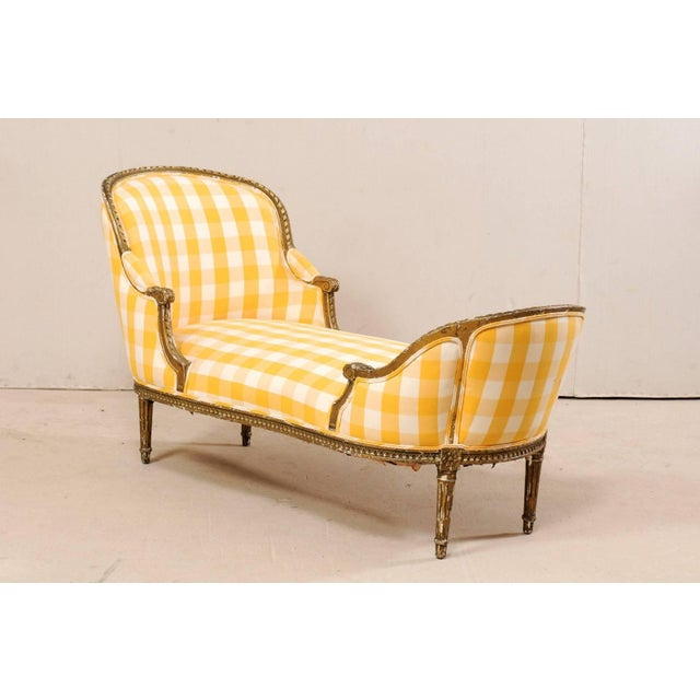 French Turn of the Century French Louis XVI Style Chaise For Sale - Image 3 of 11