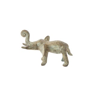 Vintage African Oxidized Bronze Elephant With Curled Trunk For Sale