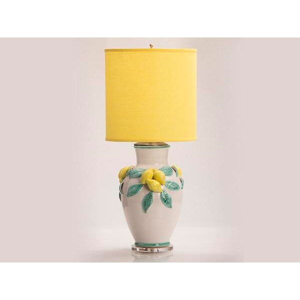 Hand Made Glazed Terra Cotta Vase by Solimene, Italy Custom Mounted as a Lamp. The fanciful design of applied lemons with...