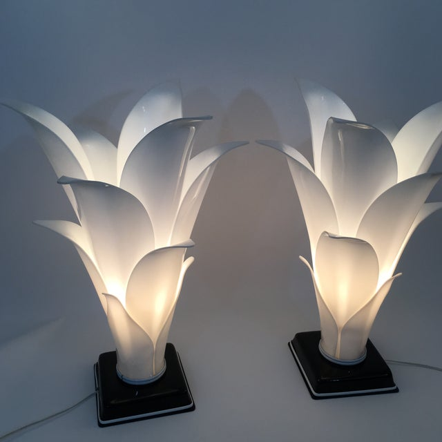 Rougier Palm Leaf Lucite Lamps- a Pair For Sale - Image 10 of 13