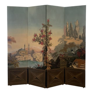 Vintage Maitland Smith Hand Painted 4 Panel Folding Screen For Sale
